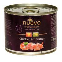 Konzerva Nuevo Adult, variace kuře a krevety. Superprémiové krmivo pro kočky s extra vysokým obsahem masa (71%)