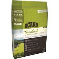 ACANA Grasslands obsahuje čerstvé jehněčí, volně chovaná kuřata, celá vejce z hnízdních chovů, volně lovenou štiku a volně chované krůty ze západní Kanady.