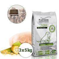 Platinum Natural Adult Chicken je poloměkké krmivo vhodné pro aktivní dospělé psy všech plemen. Granule obsahují 70% kuřecího masa.