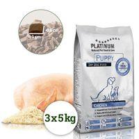 Platinum Natural Puppy Chicken je poloměkké krmivo vhodné pro štěňátka všech plemen. Granule obsahují 73% kuřecího maso, nebobtnají a neplavou. Krmivo Platinum je prevencí proti torzi žaludku.